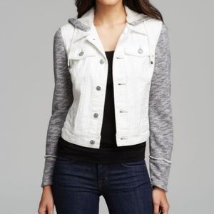 Free People Small Denim Distressed Hooded Jacket
